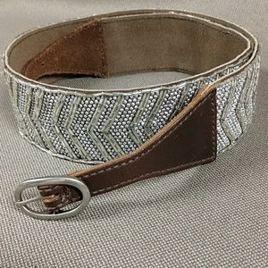 Abercrombie & Fitch leather and silver bead belt